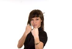 Vrouw met opgeheven vuisten Stock Afbeeldingen
