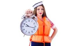 Vrouw met oranje vest stock afbeelding