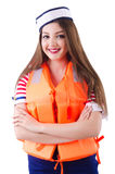 Vrouw met oranje vest Stock Foto's