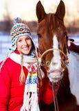 Vrouw met paard Royalty-vrije Stock Afbeelding