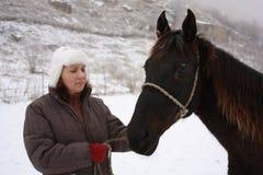Vrouw met paard Royalty-vrije Stock Foto