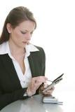 Vrouw met palm proef Stock Foto's