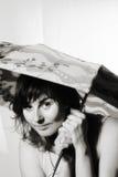 Vrouw met paraplu Royalty-vrije Stock Afbeeldingen