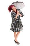 Vrouw met paraplu Stock Afbeeldingen