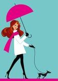 Vrouw met paraplu stock illustratie