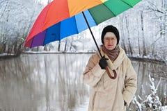 Vrouw met paraplu in de winter Royalty-vrije Stock Fotografie