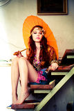 Vrouw met parasol Royalty-vrije Stock Fotografie