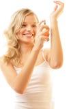 Vrouw met parfum Royalty-vrije Stock Afbeelding