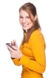 Vrouw met PDA Stock Foto's