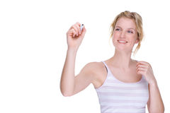 Vrouw met pen stock afbeelding