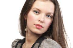 Vrouw met perfecte samenstelling, geïsoleerdei close-up, Stock Foto