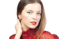 Vrouw met perfecte samenstelling, geïsoleerder close-up, Royalty-vrije Stock Afbeelding