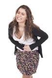 Vrouw met pijn in haar buik Stock Foto's