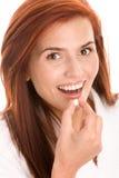 Vrouw met pil Royalty-vrije Stock Foto