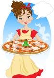 Vrouw met pizza Royalty-vrije Stock Afbeelding