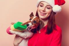 Vrouw met puppy Royalty-vrije Stock Foto