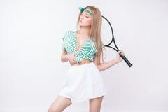 Vrouw met racket Royalty-vrije Stock Afbeeldingen