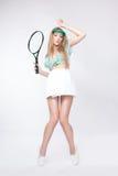Vrouw met racket Stock Foto's