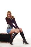 Vrouw met reizende zak Stock Fotografie