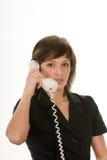 Vrouw met retro telefoon Stock Foto