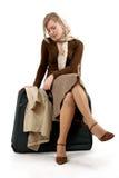 Vrouw met reusachtige zak Stock Foto