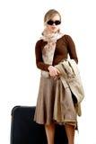 Vrouw met reusachtige zak Stock Afbeelding