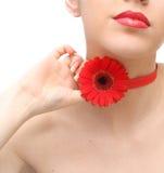 Vrouw met rode bloem Stock Foto's