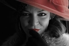 Vrouw met rode hoed Royalty-vrije Stock Foto