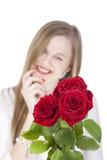 Vrouw met rode roses.GN Royalty-vrije Stock Afbeeldingen