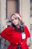Vrouw met rood kostuum Stock Afbeeldingen