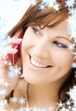 Vrouw met roze telefoon Royalty-vrije Stock Fotografie