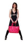 Vrouw met roze zak Stock Foto