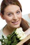 Vrouw met rozen Royalty-vrije Stock Afbeelding