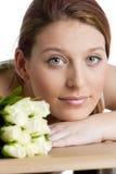 Vrouw met rozen Royalty-vrije Stock Afbeeldingen