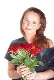Vrouw met rozen stock afbeeldingen