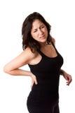 Vrouw met rugletsel Stock Foto