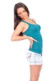 Vrouw met rugpijn Stock Afbeeldingen