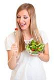 Vrouw met salade Stock Foto's