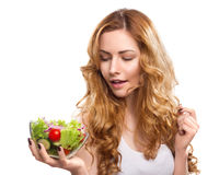 Vrouw met salade stock foto