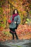 Vrouw met samenstelling en kapsel in het de herfstpark Stock Afbeeldingen