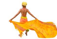 Vrouw met sarongen stock afbeeldingen