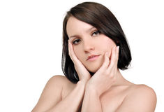 Vrouw met schone huid Royalty-vrije Stock Foto's