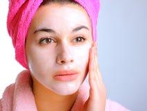 Vrouw met schoonheidsmasker Royalty-vrije Stock Afbeeldingen