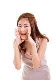 Vrouw met schort die of iets aankondigen vertellen Stock Foto's