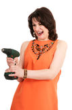 Vrouw met schroevedraaier Royalty-vrije Stock Foto's