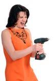 Vrouw met schroevedraaier Stock Afbeelding