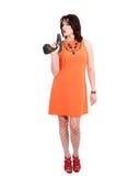 Vrouw met schroevedraaier Stock Foto's