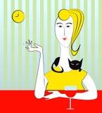 Vrouw met sigaret en zwarte kat vector illustratie