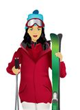 Vrouw met ski Stock Foto