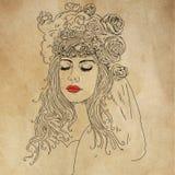 Vrouw met sluierhoed en bloemen vector illustratie